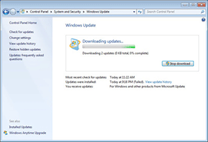 Windows update configuratiescherm